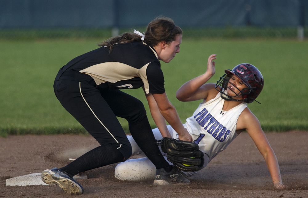 Litchfield's Lexi Law slides safely under the tag from Sacred Heart-Griffin's Bree Derhake during the 2015 Land of Lincoln Softball Classic Monday, June 22, 2015. Ted Schurter/The State Journal-Register