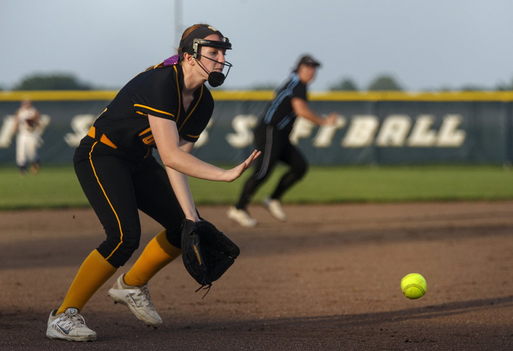 Taylorville's Haley Stewart fields a grounder on the third base line during the 2015 Land of Lincoln Softball Classic Monday, June 22, 2015. Ted Schurter/The State Journal-Register