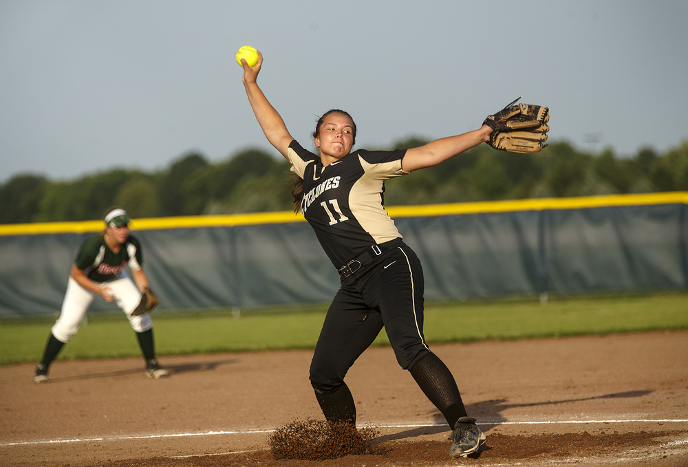 Sacred Heart-Griffin's Whitney David winds up during the 2015 Land of Lincoln Softball Classic Monday, June 22, 2015. Ted Schurter/The State Journal-Register