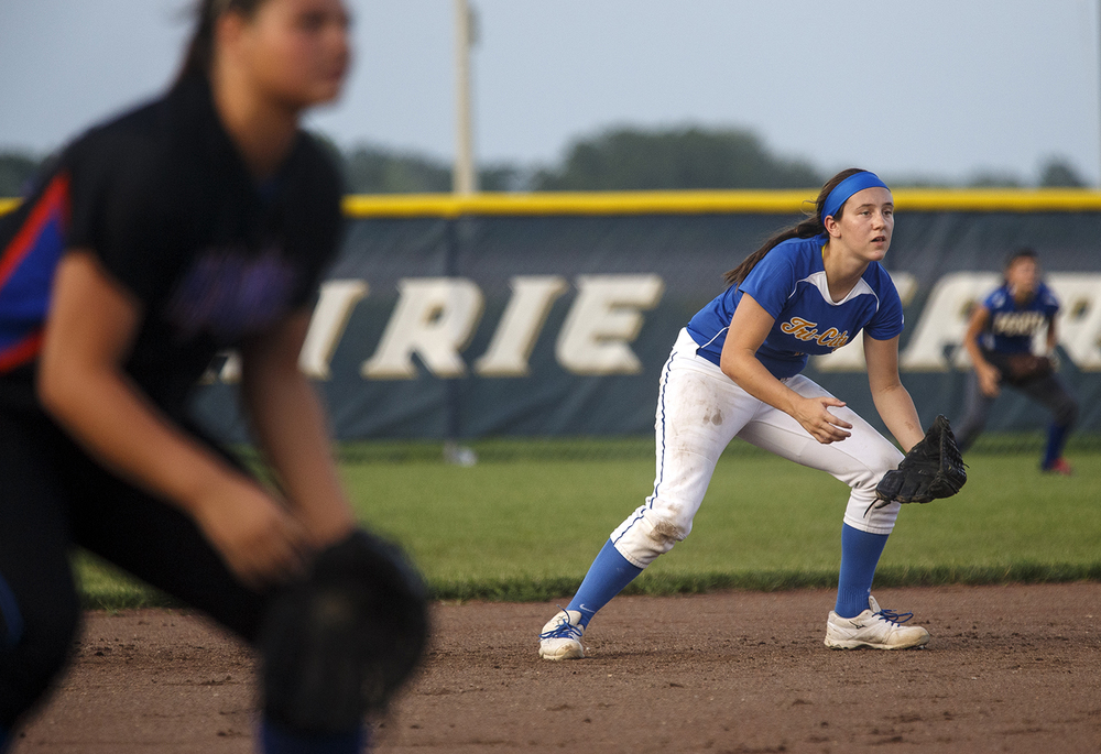 Tri-City's Megan Spain and the Area All-Stars get in a defensive crouch during the 2015 Land of Lincoln Softball Classic Monday, June 22, 2015. Ted Schurter/The State Journal-Register