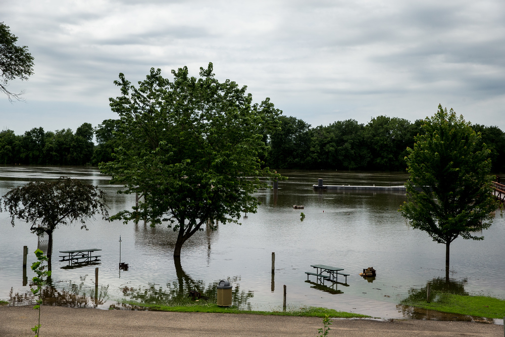 Flood waters from the Illinois River inundate the campground area of Riverfront Park, Thursday, June 25, 2015, in Havana, Ill. Justin L. Fowler/The State Journal-Register