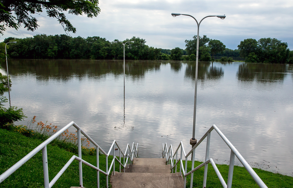 The Illinois River has overtaken the Riverfront Park as it rises to over 24 feet nearing record levels during flooding, Thursday, June 25, 2015, in Havana, Ill. Justin L. Fowler/The State Journal-Register