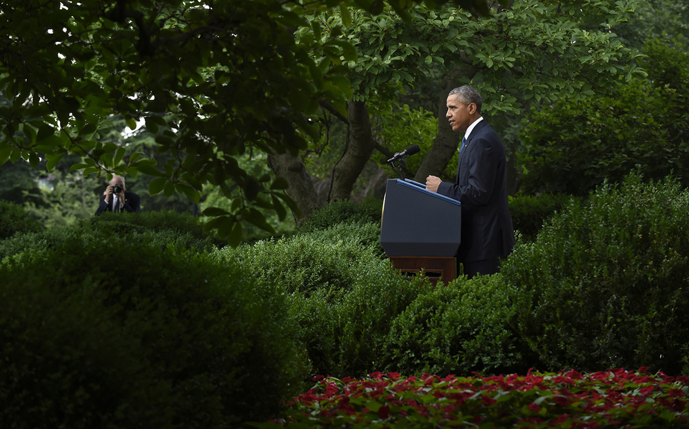 President Barack Obama speaks in the Rose Garden of the White House in Washington, Friday, June 26, 2015, after the Supreme Court declared that same-sex couples have the right to marry anywhere in the United States. (AP Photo/Susan Walsh)