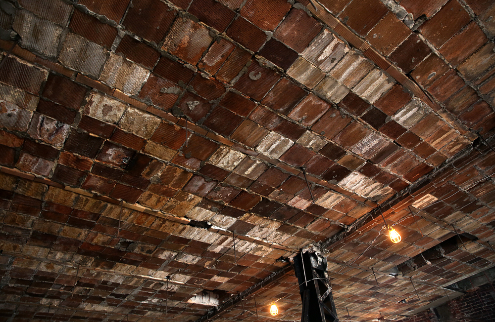 Terracotta ceiling tiles were re-exposed after demoltion after being hidden for decades inside the Booth building. This view shows a section on the sixth floor. David Spencer/The State Journal-Register