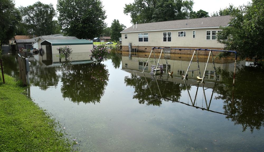 A view of the flooded backyards of homes on Gaskill St. David Spencer/The State Journal-Register