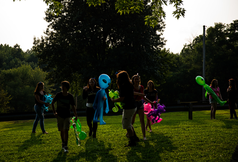 Inflatable aliens were a popular prize from the strength test game during the Riverton Fire Crackin' Festival at the Knights of Columbus Marian Council 3914, Friday, July 3, 2015, in Riverton, Ill. Justin L. Fowler/The State Journal-Register