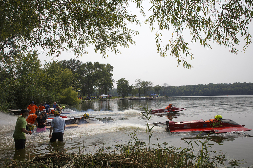 Hydroplanes head for the course after the 3 minute warning was sounded during the US Title Series race at Lake Springfield Sunday, July 7, 2015. Ted Schurter/The State Journal-Register