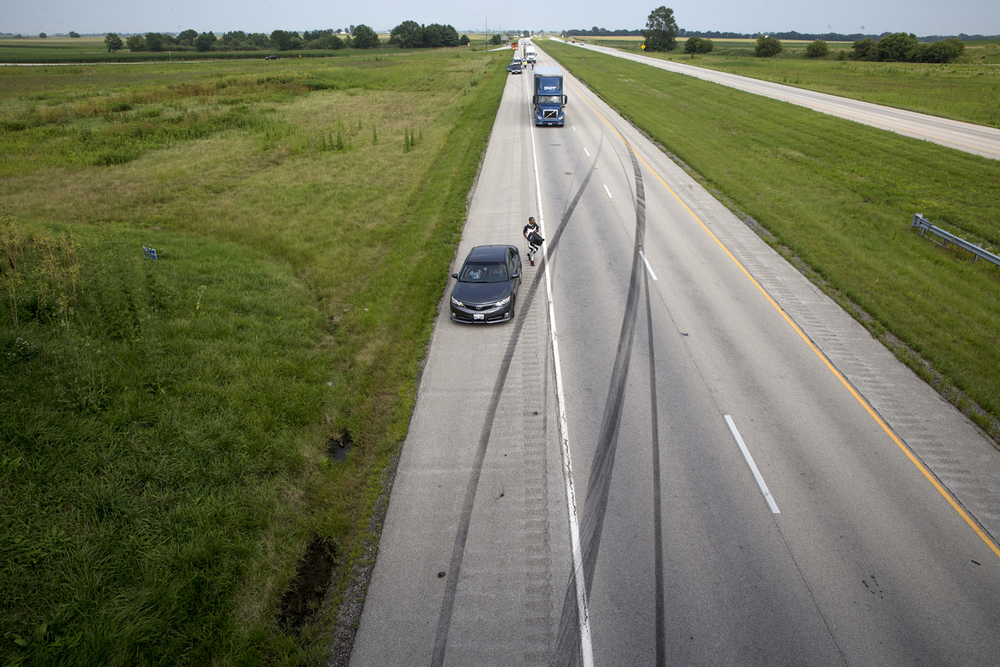 Skid marks from an SUV are visible in the westbound lanes of Interstate 72 before it veered off the road and rolled over, causing multiple injuries Saturday, July 4,  2015. Ted Schurter/The State Journal-Register