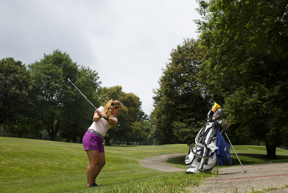 Gaby Isaacks hits from the No. 10 freeway at Bunn Park Golf Course Monday, July 6, 2015 during the 78th annual Drysdale Junior Golf Tournament. Rich Saal/The State Journal-Register