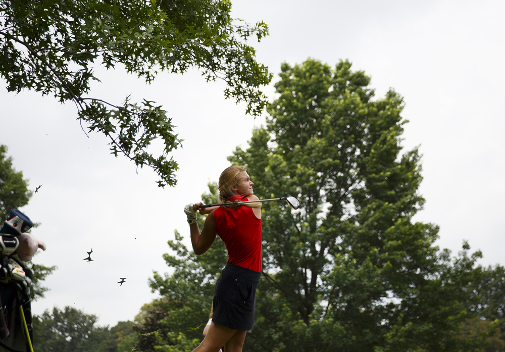 Morgan Savage watches her shot from the No. 11 fairway at Bunn Park Golf Course Monday, July 6, 2015 during the 78th annual Drysdale Junior Golf Tournament. Rich Saal/The State Journal-Register