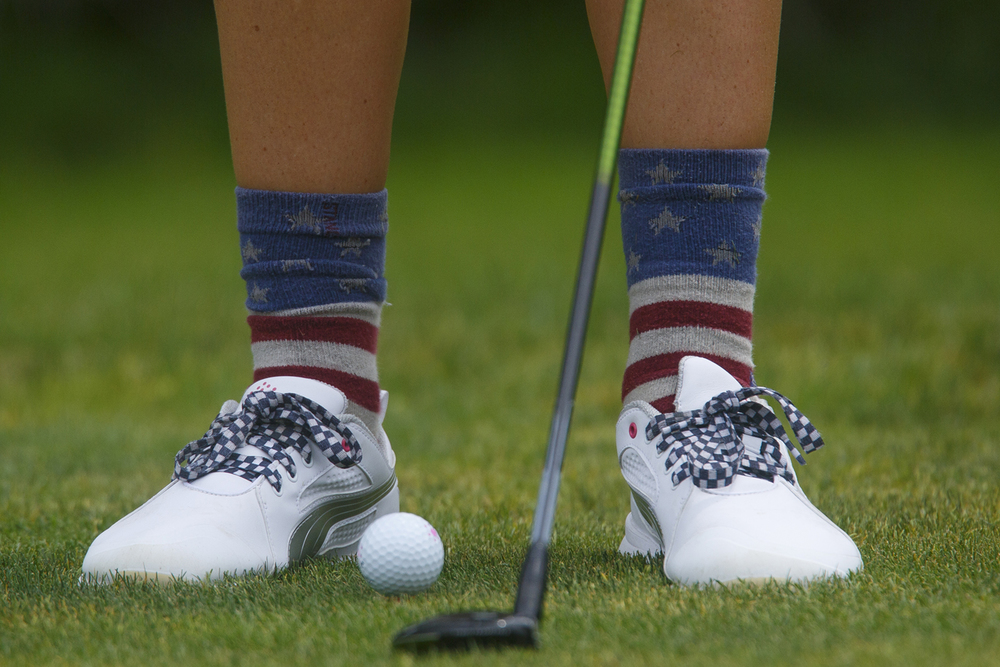 Joelie Bennett wears patriotic socks at Bunn Park Golf Course Monday, July 6, 2015 during the 78th annual Drysdale Junior Golf Tournament. Rich Saal/The State Journal-Register