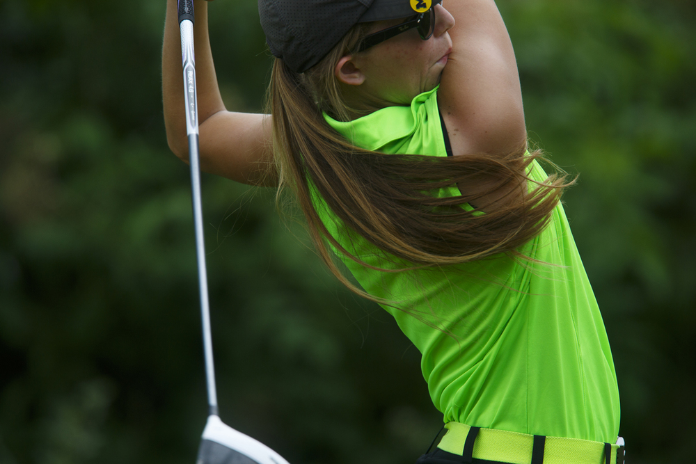 Lindsey Storm hits from the No. 13 tee at Bunn Park Golf Course Monday, July 6, 2015 during the 78th annual Drysdale Junior Golf Tournament. Rich Saal/The State Journal-Register