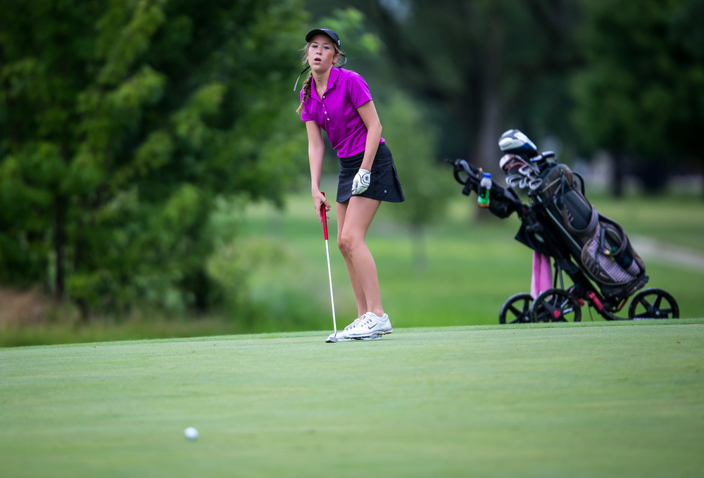 Anna Carter reacts after missing a long putt on the No. 1 hole during the Drysdale Junior Golf Tournament at Lincoln Greens Golf Course, Tuesday, July 7, 2015, in Springfield, Ill. Justin L. Fowler/The State Journal-Register