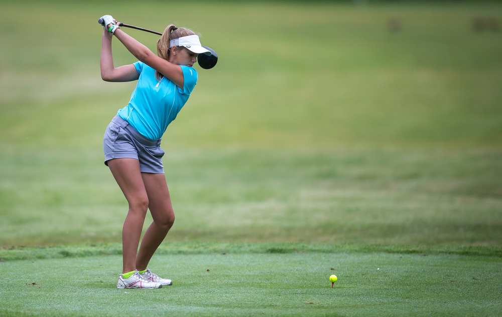 Madison Humke tees off on the No. 2 hole during the Drysdale Junior Golf Tournament at Lincoln Greens Golf Course, Tuesday, July 7, 2015, in Springfield, Ill. Justin L. Fowler/The State Journal-Register