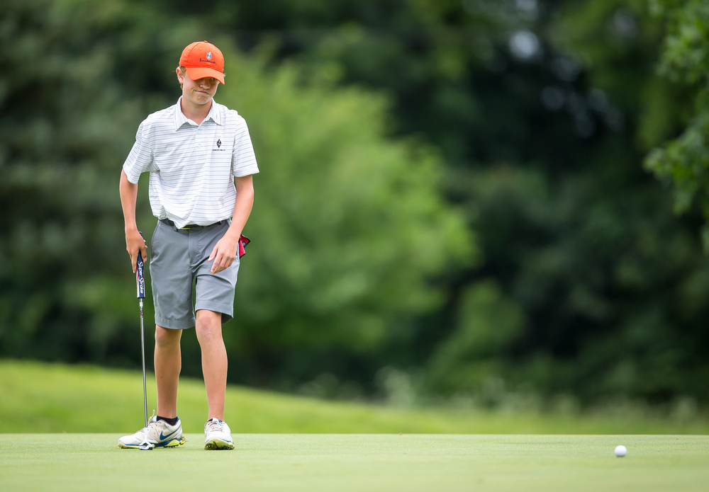 Zach Walsh reacts after missing a putt on the No. 14 hole during the Drysdale Junior Golf Tournament at Lincoln Greens Golf Course, Tuesday, July 7, 2015, in Springfield, Ill. Justin L. Fowler/The State Journal-Register