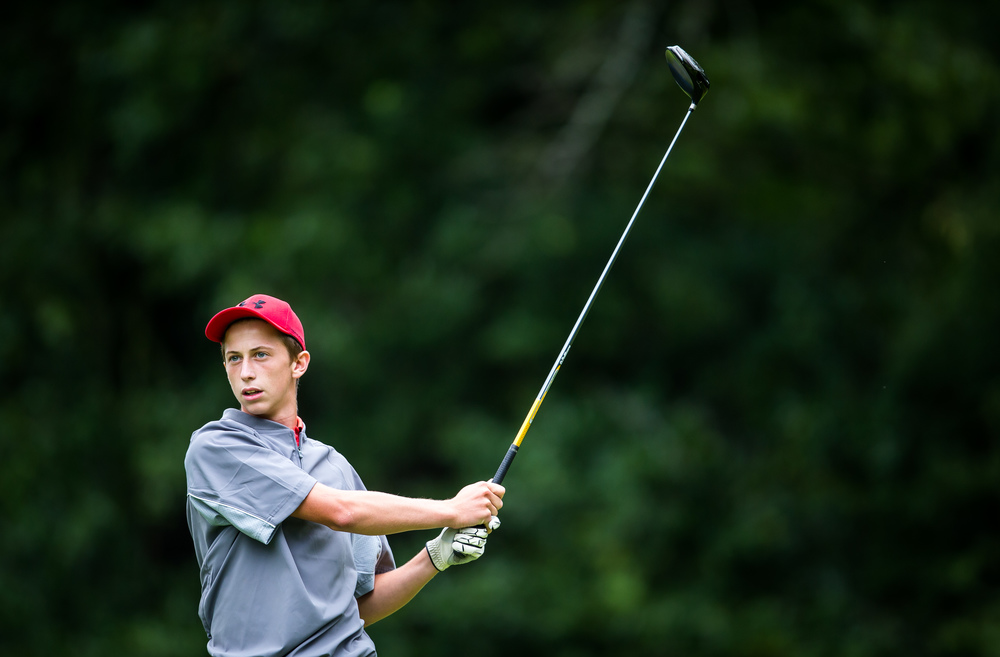 Hunter Chumley watches his tee shot off the No. 15 hole during the Drysdale Junior Golf Tournament at Lincoln Greens Golf Course, Tuesday, July 7, 2015, in Springfield, Ill. Justin L. Fowler/The State Journal-Register