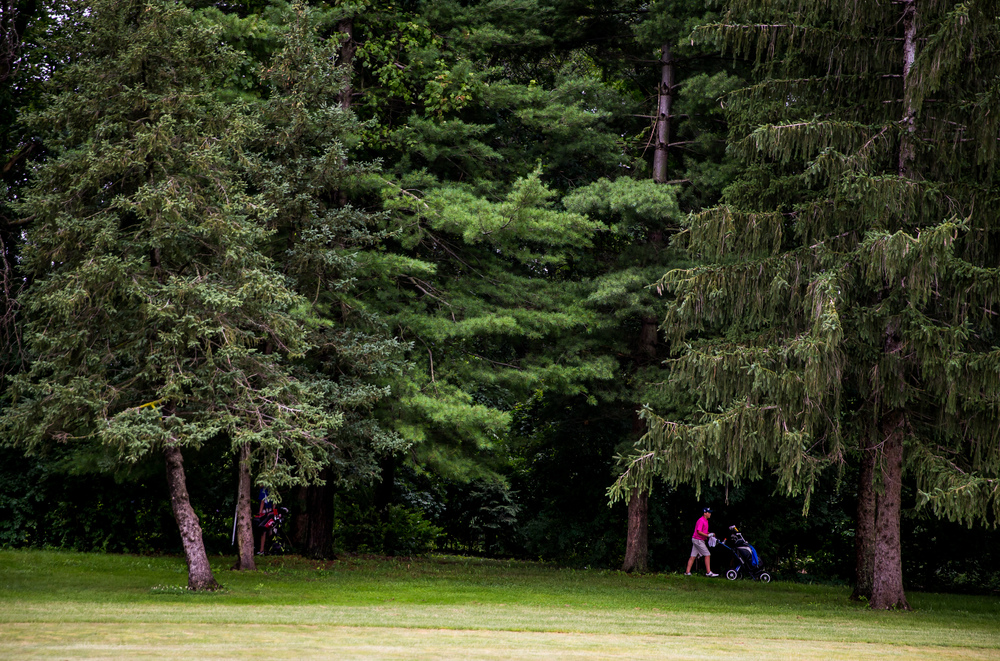 Harrison Chumley heads out of the woods after trying to help a member of his group find a lost ball on the No. 16 hole during the Drysdale Junior Golf Tournament at Lincoln Greens Golf Course, Tuesday, July 7, 2015, in Springfield, Ill. Justin L. Fowler/The State Journal-Register