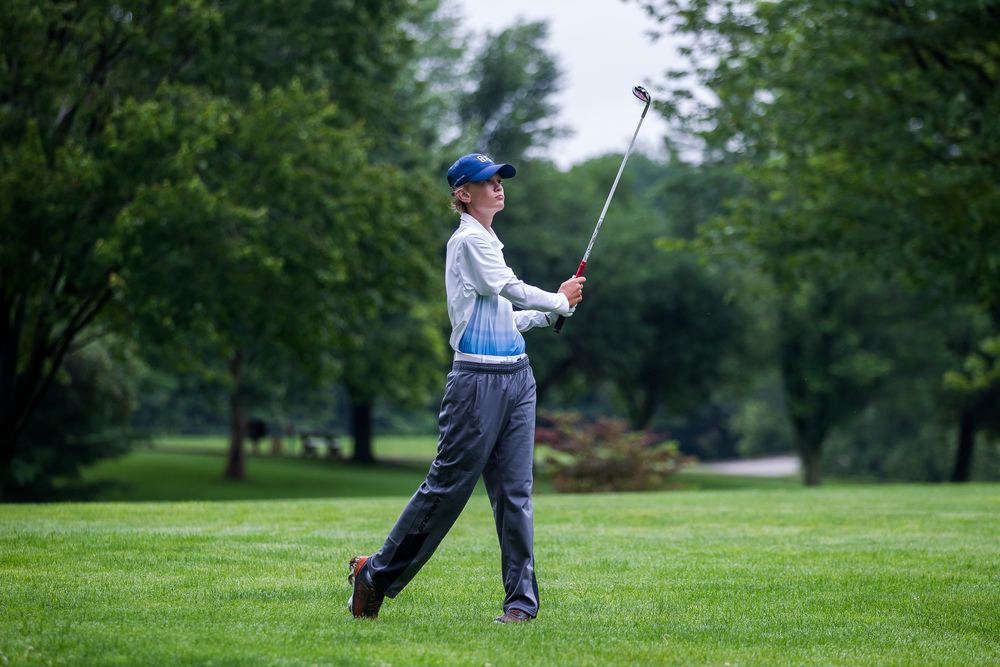 James Tureskis hits his second shot on the No. 3 hold during the Drysdale Junior Golf Tournament at Pasfield Golf Course, Thursday, July 9, 2015, in Springfield, Ill. Justin L. Fowler/The State Journal-Register