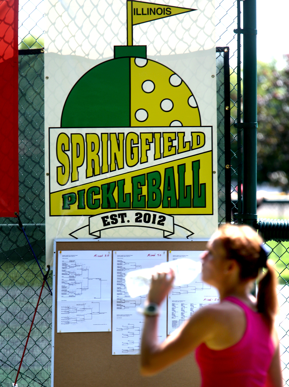 Hydration was the name of the game inside and outside the pickleball courts at Iles Park on Sunday. David Spencer/The State Journal-Register