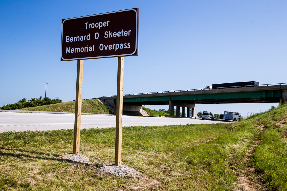 "The Stuttle Road overpass over Interstate 55 in Williamsville was renamed the ""Trooper Bernard D. Skeeters Memorial Overpass"" in honor of the trooper that was killed in 1982 when his patrol car was hit from behind, Friday, July 17, 2015, in Williamsville, Ill. Justin L. Fowler/The State Journal-Register"