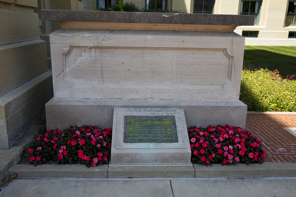 The cornerstone that had been laid on Oct. 5, 1868, discarded and then rediscovered, is displayed outside the northeast corner of the Capitol. Rich Saal/The State Journal-Register