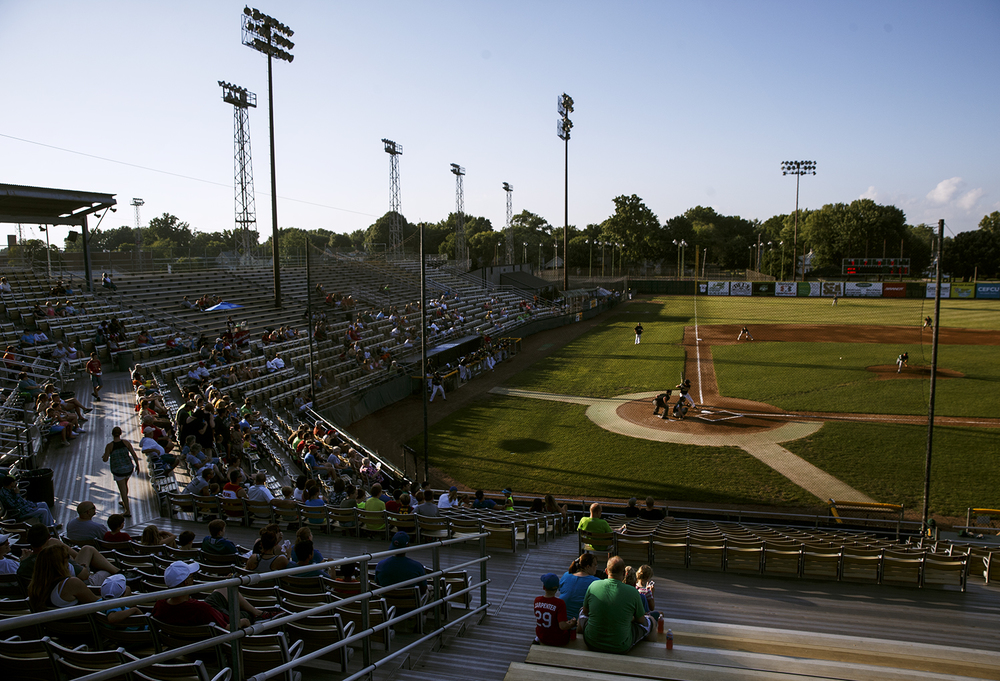 Despite a triple-digit heat index at the opening pitch, some fans showed up to watch the Springfield Sliders beat the West Virginia Miners 5-2 Friday, July 17, 2015.  Ted Schurter/The State Journal-Register
