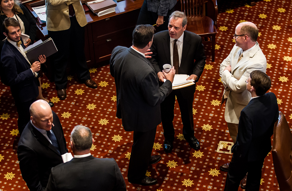 Democratic Senate President John Cullerton talks with State Sen. Matt Murphy, R-Palatine, on the floor of the Senate as they come to order to bring up SB2040, the one month budget, for a vote at the Illinois State Capitol, Wednesday, July 15, 2015, in Springfield, Ill. Justin L. Fowler/The State Journal-Register