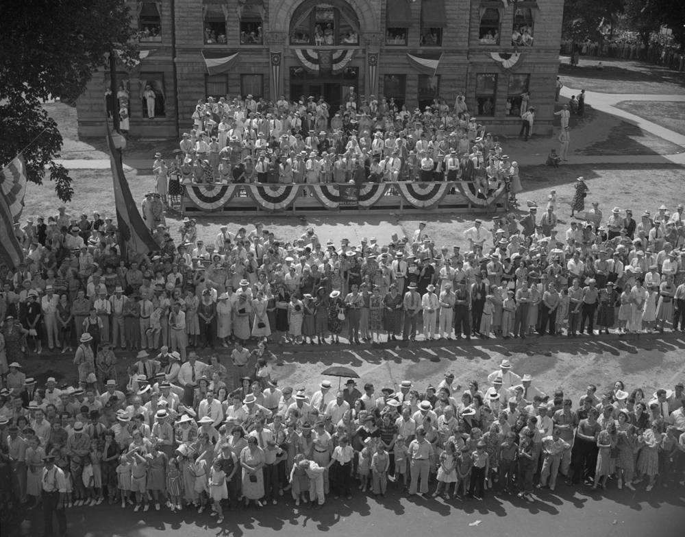 The reviewing stand in front of the Christian County Courthouse in Taylorville July 25, 1939. File/The State Journal-Register