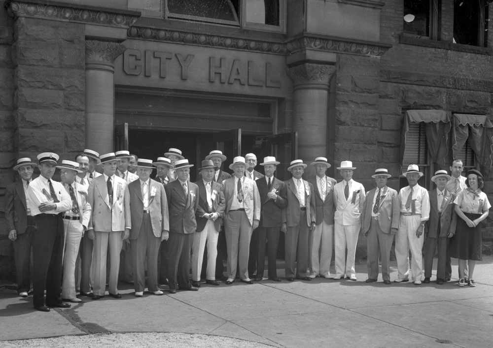 Springfield's delegation to the centennial party posed in front of the Springfield City Hall before traveling to Taylorville.File/The State Journal-Register