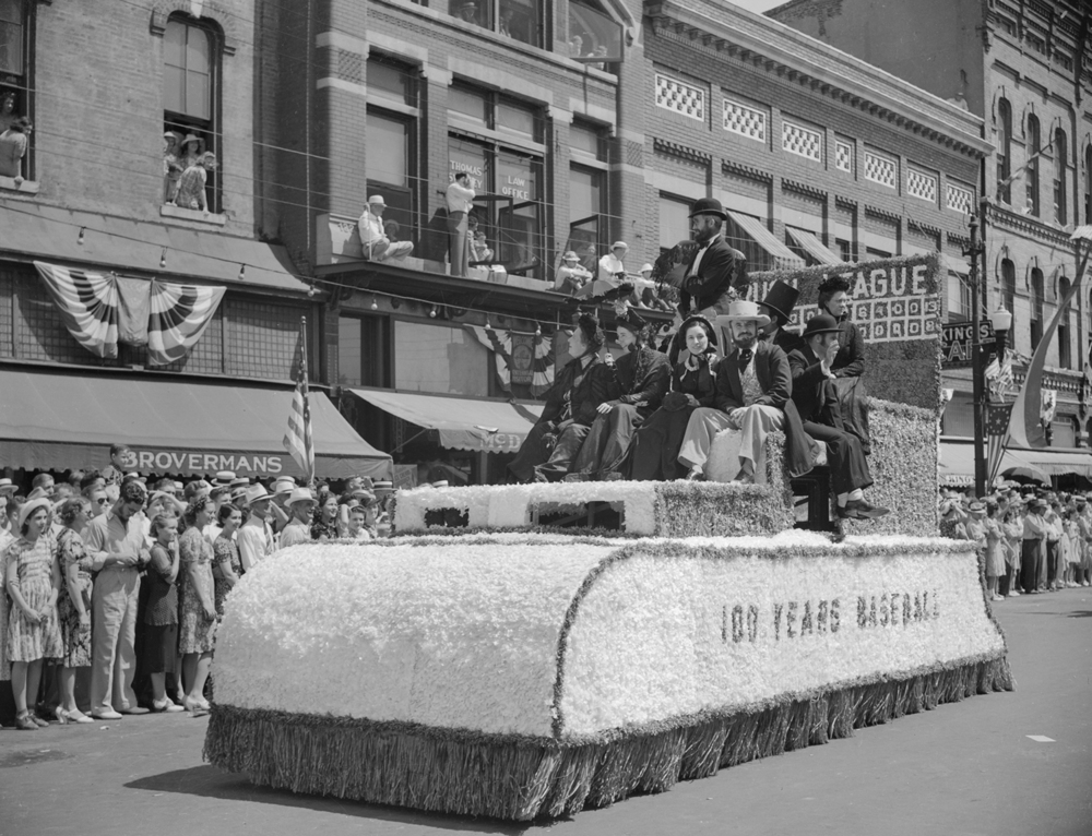 One hundred years of baseball is represented in this float during the Taylorville centennial celebration parade July 25, 1939. File/The State Journal-Register