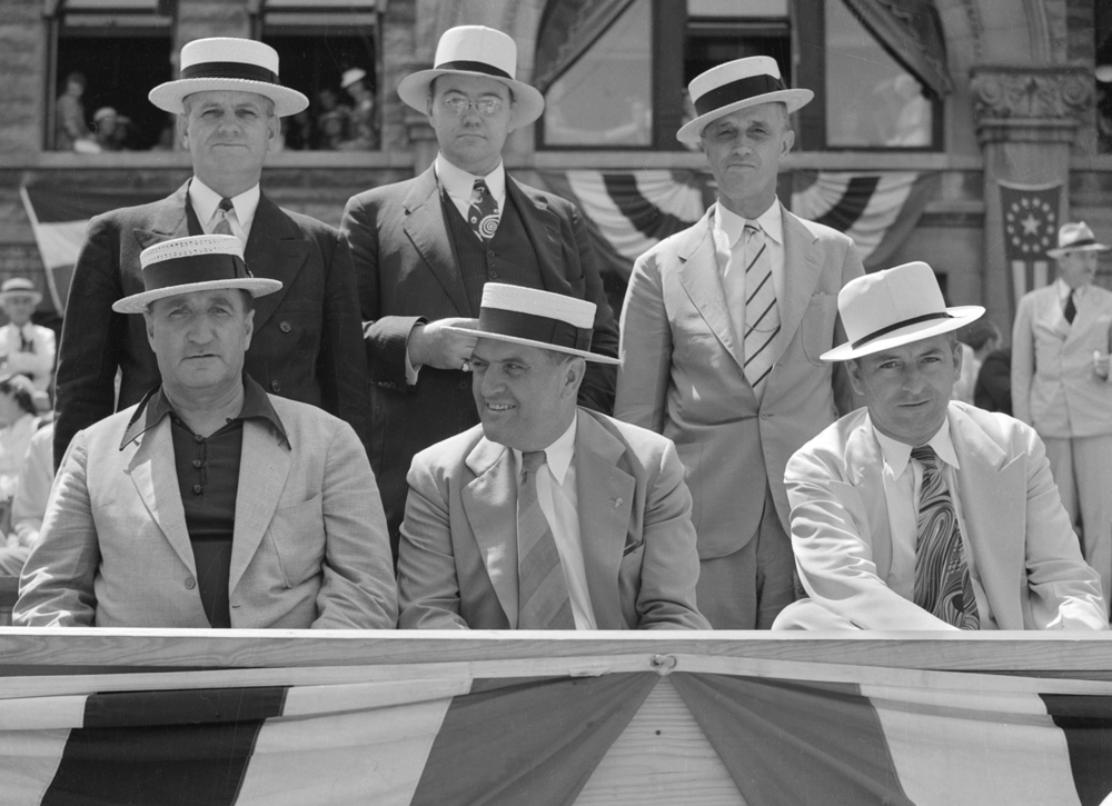 Honored guests in the reviewing stand at the Taylorville centennial celebration parade July 25, 1939. File/The State Journal-Register