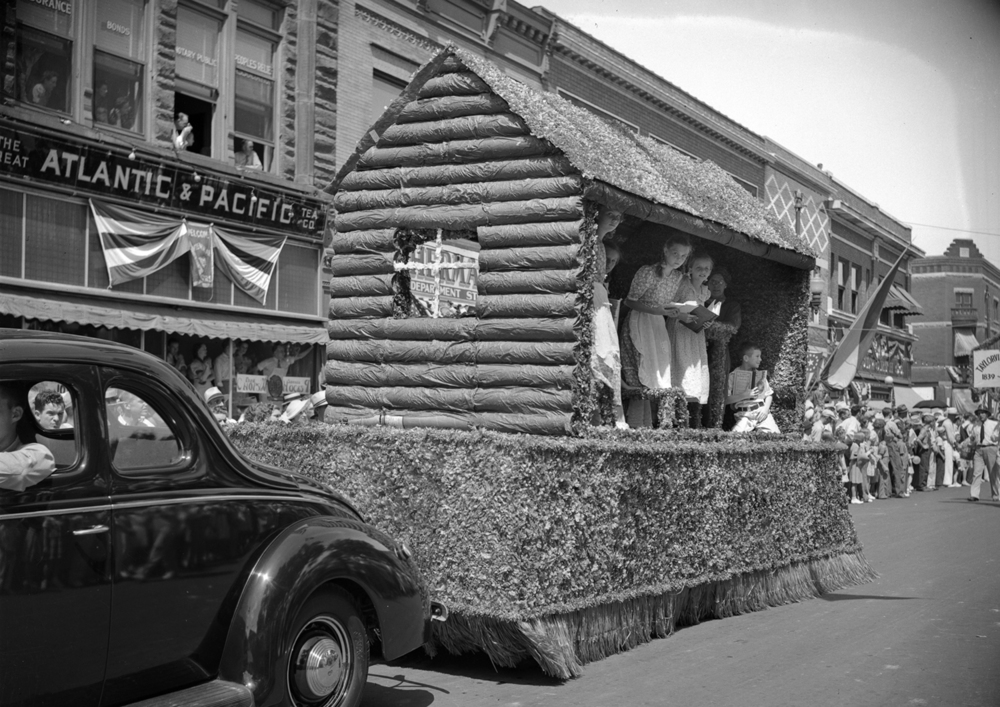 A float designed as a one-room school house depicted Christian County's early educational system in the Taylorville centennial celebration parade July 25, 1939. File/The State Journal-Register