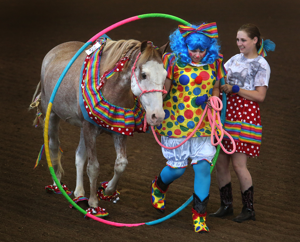 """Tumbleweed"", a horse owned by Laura Dittmeier of Marshall county, steps through an oversized ring. The circus act earned Dittmeier, seen here dressed as a clown, the judges blue ribbon in the 15-18 years of age costume class on Thursday. David Spencer/The State Journal-Register"