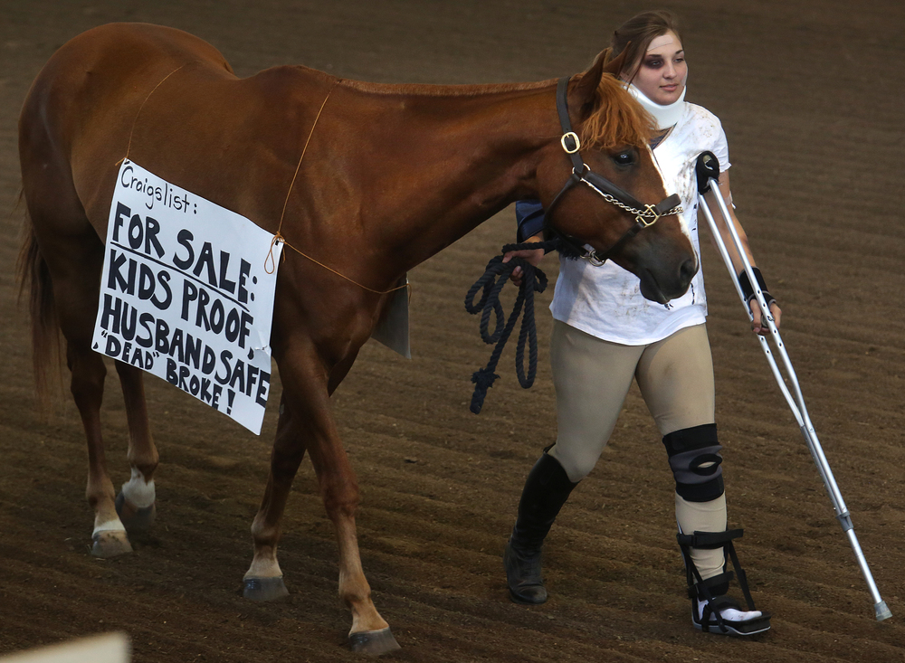 "A Craigslist horse: aka: ""Heza Smokin Loki"", does not seem to be billed as advertised for horse owner Nicole Stiegart of Kendall county, who opts to hobble around on crutches instead of riding the steed. David Spencer/The State Journal-Register"