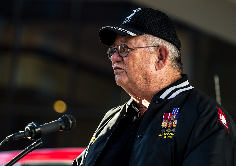 Gary Sigler, a former Vietnam POW that spent six years in what became known as the Hanoi Hilton, speaks during the POW/MIA Ceremony for the Vietnam Veterans of America 2015 National Convention at the Hilton, Friday, July 24, 2015, in Springfield, Ill. Justin L. Fowler/The State Journal-Register