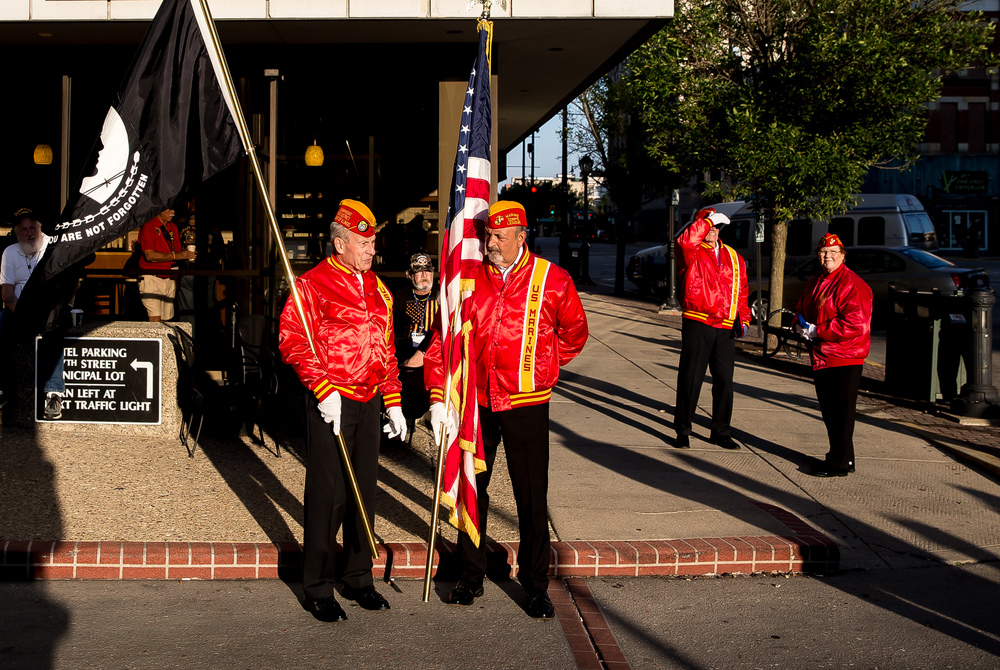 Joe Pollock, left, and Greg Baker, right, of the Marine Corp League, prepare for the presentation of the colors for the POW/MIA Ceremony during the Vietnam Veterans of America 2015 National Convention at the Hilton, Friday, July 24, 2015, in Springfield, Ill. Justin L. Fowler/The State Journal-Register