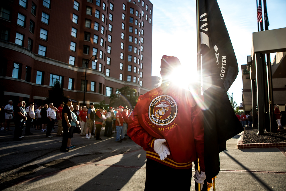 The POW/MIA Flag and the American Flag are prepared for presentation by the Marine Corp League for the POW/MIA Ceremony during the Vietnam Veterans of America 2015 National Convention at the Hilton, Friday, July 24, 2015, in Springfield, Ill. Justin L. Fowler/The State Journal-Register