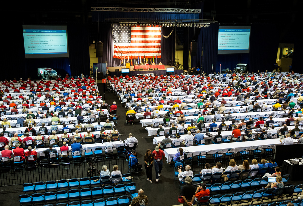 Delegates from across the country listen to a speech from Veterans Affairs Secretary Robert McDonald during the Vietnam Veterans of America 2015 National Convention at the Prairie Capital Convention Center, Friday, July 24, 2015, in Springfield, Ill. Justin L. Fowler/The State Journal-Register