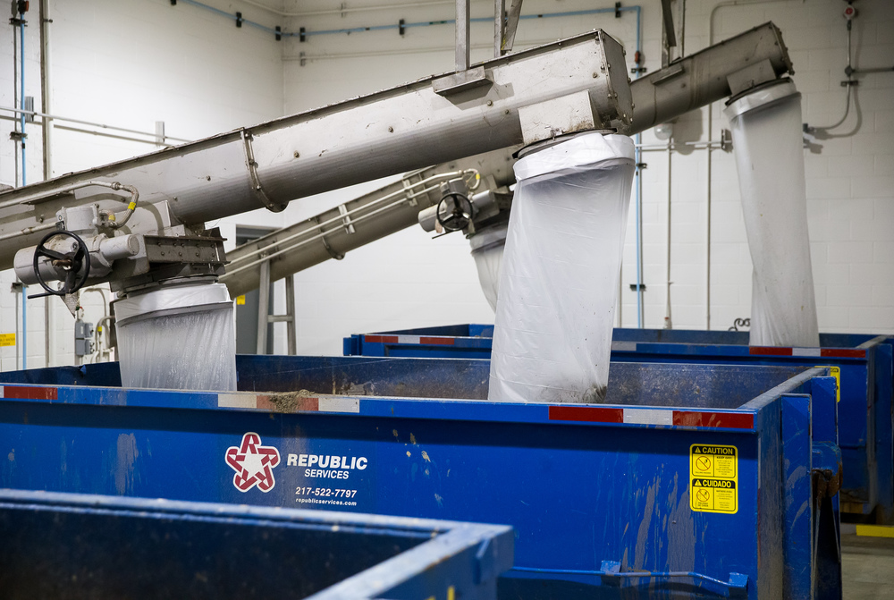 Debris from the wastewater collected during the screening process is immediately bagged and ready for removal at the Springfield Metro Sanitary District's Spring Creek wastewater treatment plant, Friday, July 31, 2015, in Springfield, Ill. Justin L. Fowler/The State Journal-Register