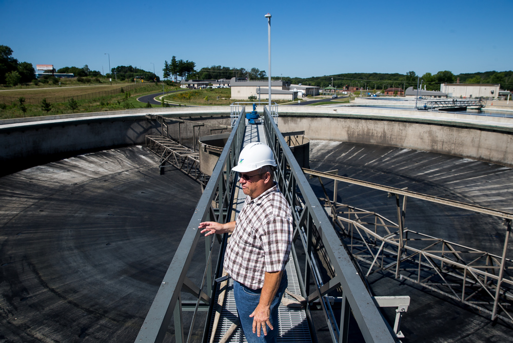 Gregg Humphrey, the executive director of the Springfield Metro Sanitary District, looks out over an emptied primary clarifier down for maintenance at the Springfield Metro Sanitary District's Spring Creek wastewater treatment plant, Friday, July 31, 2015, in Springfield, Ill. Justin L. Fowler/The State Journal-Register