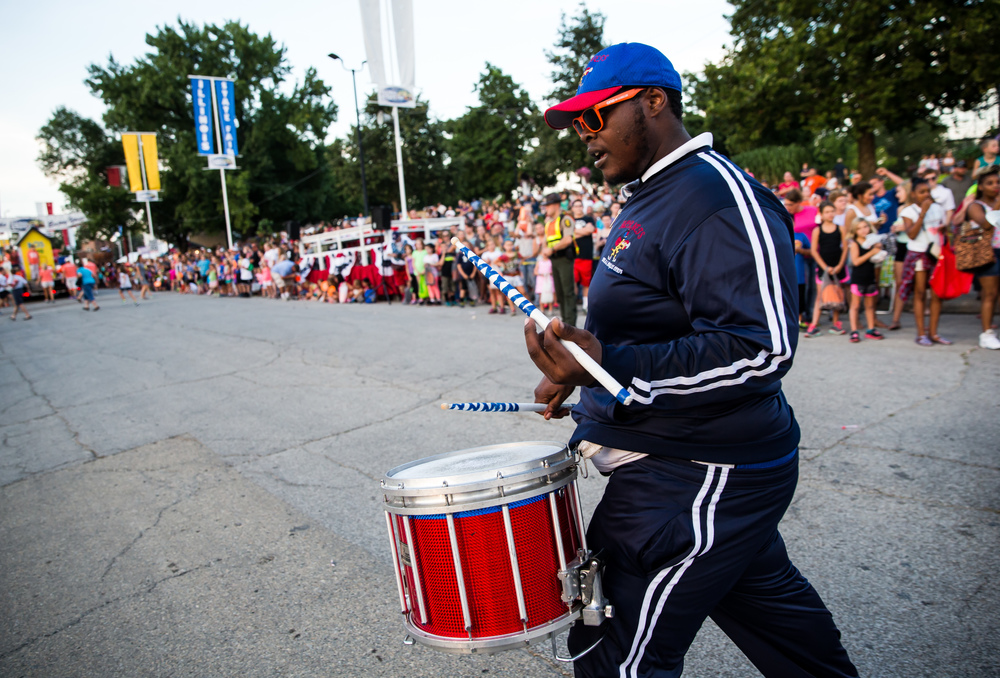 Ziris White marches with the Hornets Drum & Bugle Corps during the 2015 Illinois State Fair Twilight Parade at the Illinois State Fairgrounds, Thursday, Aug. 13, 2015, in Springfield, Ill. Justin L. Fowler/The State Journal-Register