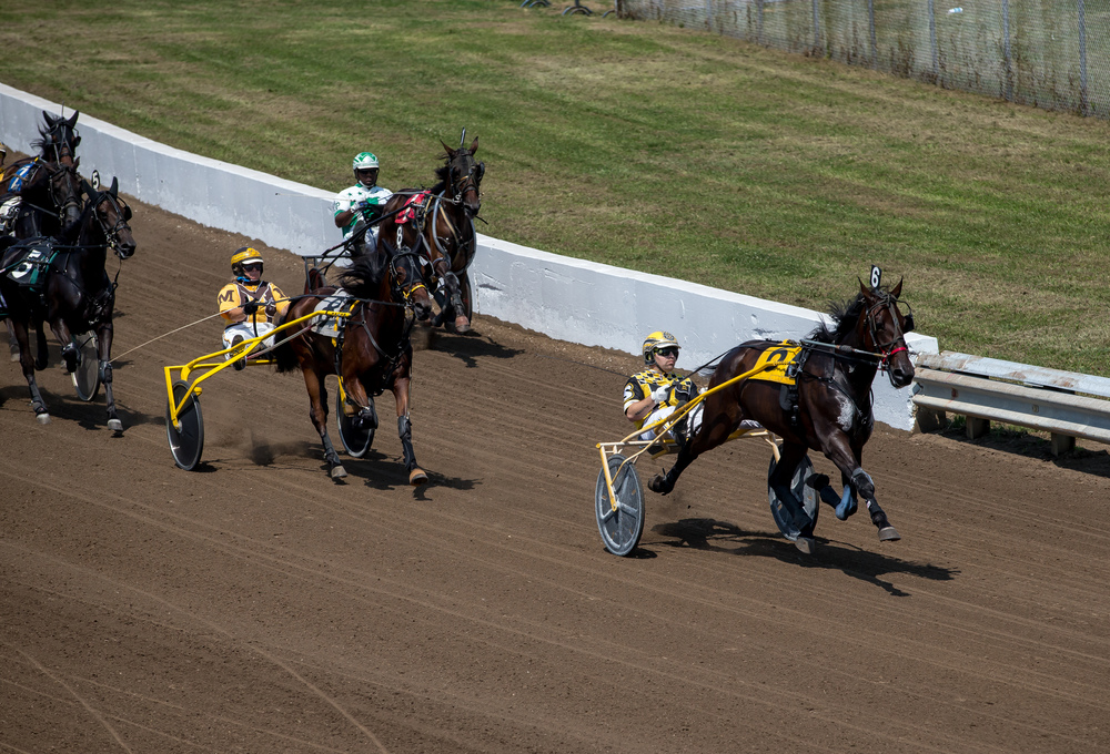 Robert Smolin drives Fox Valley Bugatti into the lead around the first turn in the Illinois State Fair Colt Stakes 2 Year Old Fillies (Illinois Conceived & Foaled) during harness racing at the Illinois State Fairgrounds, Friday, Aug. 14, 2015, in Springfield, Ill. Justin L. Fowler/The State Journal-Register