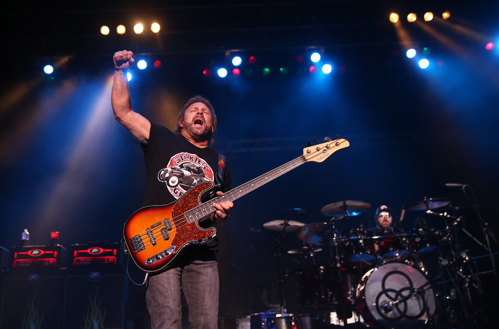 Band member Michael Anthony acknowledges the crowd while taking the stage Friday night. Sammy Hagar along with his band The Circle made up of Michael Anthony, Vic Johnson and Jason Bonham were the headliners for opening night on the Grandstand Stage at the Illinois State Fairgrounds in Springfield on Friday evening, August 14, 2015. Opening for Sammy Hagar was Collective Soul. David Spencer/The State Journal-Register