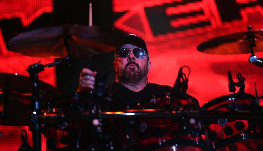 Drummer Jason Bonham performs Friday night. Sammy Hagar along with his band The Circle made up of Michael Anthony, Vic Johnson and Jason Bonham were the headliners for opening night on the Grandstand Stage at the Illinois State Fairgrounds in Springfield on Friday evening, August 14, 2015. Opening for Sammy Hagar was Collective Soul. David Spencer/The State Journal-Register