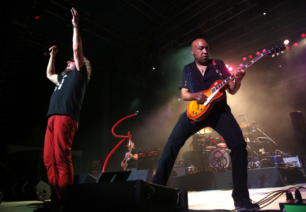 Sammy Hagar and Vic Johnson perform Friday night. Sammy Hagar along with his band The Circle made up of Michael Anthony, Vic Johnson and Jason Bonham were the headliners for opening night on the Grandstand Stage at the Illinois State Fairgrounds in Springfield on Friday evening, August 14, 2015. Opening for Sammy Hagar was Collective Soul. David Spencer/The State Journal-Register