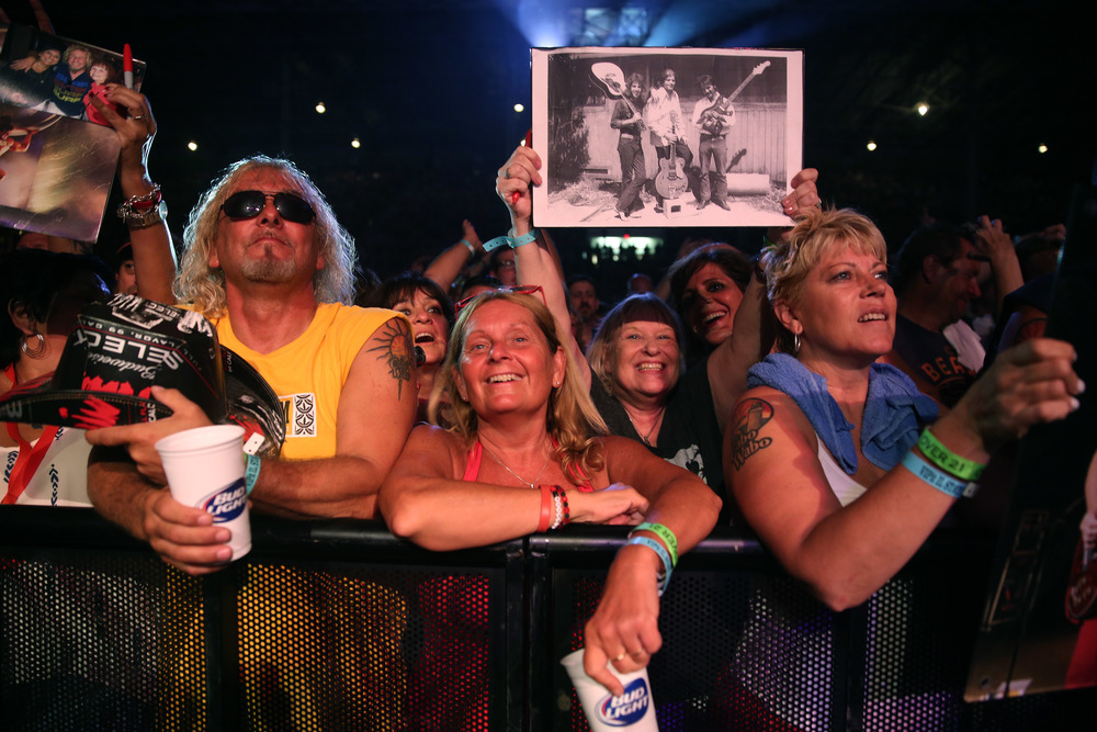 Concert goers were enjoying themselves while standing in the front of the stage Friday night. Sammy Hagar along with his band The Circle made up of Michael Anthony, Vic Johnson and Jason Bonham were the headliners for opening night on the Grandstand Stage at the Illinois State Fairgrounds in Springfield on Friday evening, August 14, 2015. Opening for Sammy Hagar was Collective Soul. David Spencer/The State Journal-Register