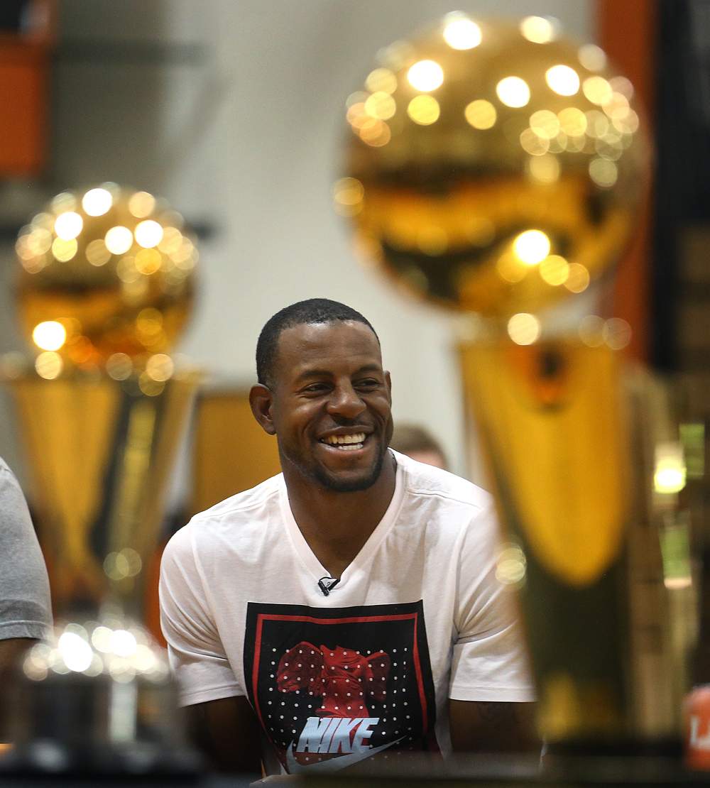 Andre Iguodala laughs while waiting to be introduced Saturday. David Spencer/The State Journal-Register