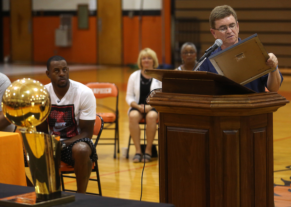 Springfield Mayor Jim Langfelder reads a proclamation naming Saturday Andre Iguodala Day during the ceremony as Iguodala looks on at left. David Spencer/The State Journal-Register