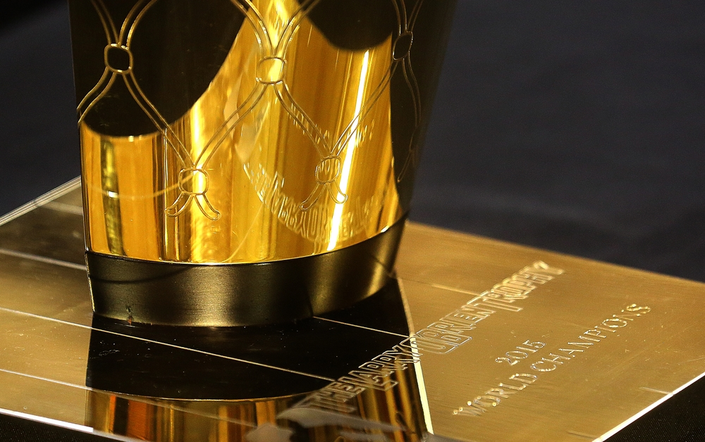 A close-up of the base of the 2015 NBA championship Larry O'Brien Trophy honoring the Golden State Warriors. David Spencer/The State Journal-Register
