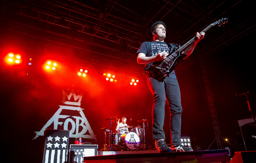 "Fall Out Boy lead singer Patrick Stump performs ""Sugar"" with the band during a Grandstand concert at the Illinois State Fairgrounds, Saturday, Aug. 15, 2015, in Springfield, Ill. Justin L. Fowler/The State Journal-Register"